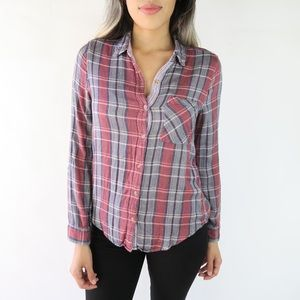 Lucky Brand Long Sleeve Flannel Plaid Shirt Size S